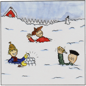 Ola Lawless and friends welcome picture with lots of snow.