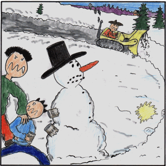Ola lawless is driving a snowplough to kill the snow man and Torgny Junior is chill his beer in the snowman.